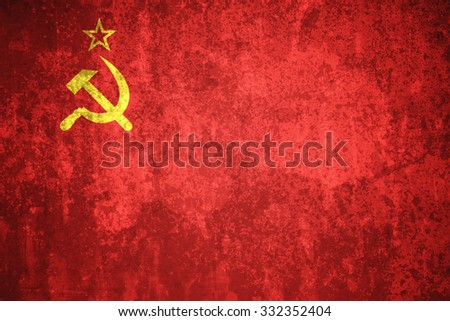 USSR, Soviet Union flag on concrete textured background - stock photo
