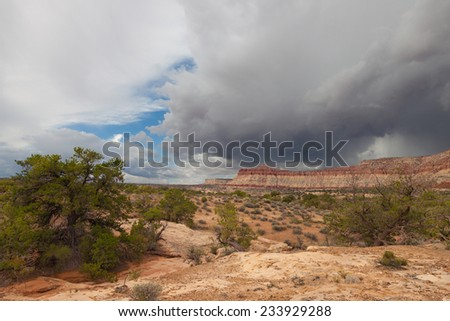 UT-Canyonlands National Park-Maze District-on the road to the Dollhouse area - stock photo