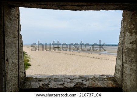 Utah beach from bunker, Normandy, France - stock photo