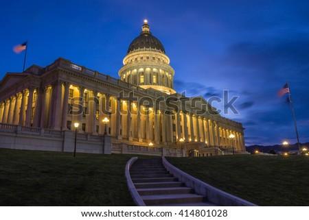 Utah Capitol at Blue Hour - stock photo