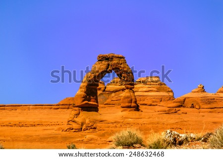Utah famous Delicate Arch in Arches National Park, USA - stock photo