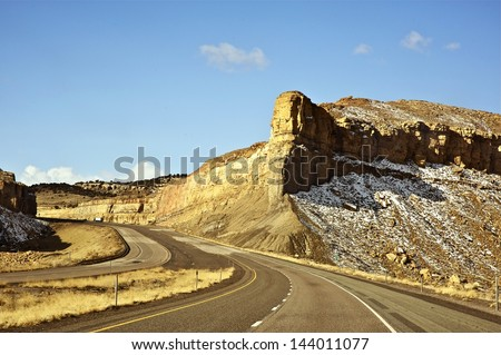 Utah Scenic Interstate  Highway I-70 Early Spring. Utah Photo Collection.
