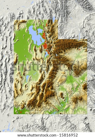 Utah. Shaded relief map, with major urban areas and rivers, surrounding territory greyed out. Colored according to elevation. Clipping path for the state area included. Data source: NASA - stock photo