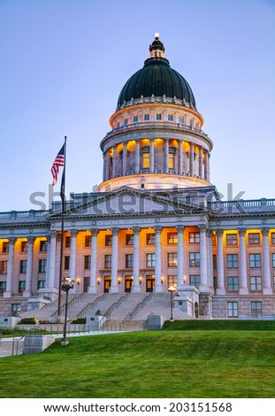 Utah state capitol building in Salt Lake City in the night - stock photo