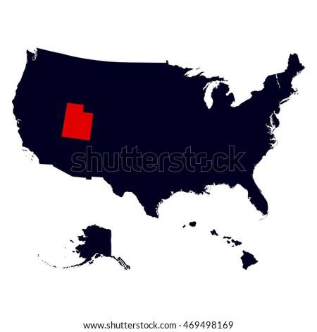 Utah State United States Map Stock Illustration - Us map utah