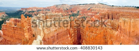 UTAH, USA - APRIL 22, 2014 :  Sunset Point is on the northern side of Bryce Amphitheater. Sunset Point offers vistas of some of the most famous and breathtaking of Bryce Canyon's hoodoos.