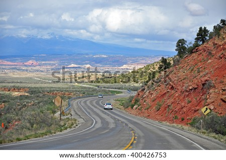 UTAH USA - APRIL 19, 2014 : US 191 serves the eastern half of the state. The highway passes through mostly desolate areas of eastern Utah. Several portions are National or Utah Scenic Byways.