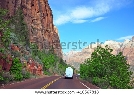 UTAH USA - APRIL 23, 2014 :View after passed The Zion-Mount Carmel Tunnel in Zion National Park.