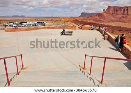 UTAH USA - APRIL 19, 2014 : Visitor Center at Monument Valley. It is a region of the Colorado Plateau characterized by a cluster of vast sandstone buttes. It is located on the Arizona-Utah state line.