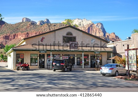 UTAH USA - APRIL 23, 2014 : Zion Park Gift & Deli  in Springdale. It is a town in Washington County, Utah, United States. It is located immediately outside the boundaries of Zion National Park.