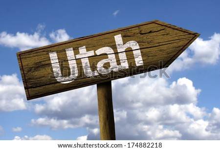Utah wooden sign on a beautiful day - stock photo