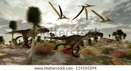 Utahraptor Hunt - Three Pterosaur reptile dinosaur fly along and watch two Utahraptors as they hunt to share in the kill. - stock photo