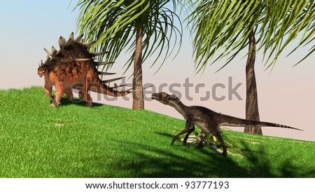 utahraptor in jungle - stock photo