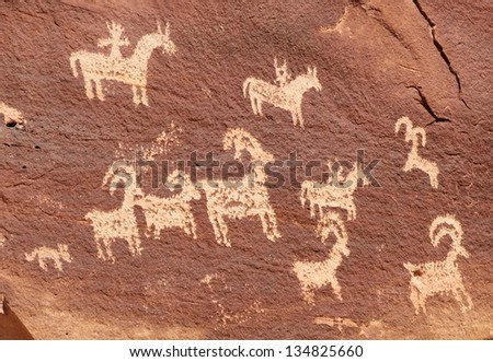 Ute Petroglyphs Near Wolfe Ranch in Arches National Park - stock photo