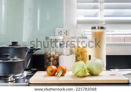 utensil on counter in kitchen room