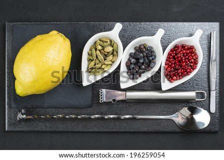 Utensils and ingredients to prepare and garnish a gin and  tonic - stock photo
