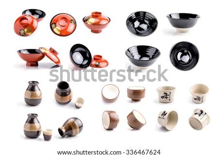 Utensils, crockery, kitchenware of Japan on a white background. - stock photo