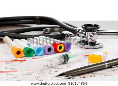 Utensils for blood collection, and form for the laboratory - stock photo