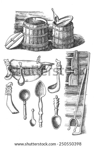 Utensils of traditional russian house - stock photo
