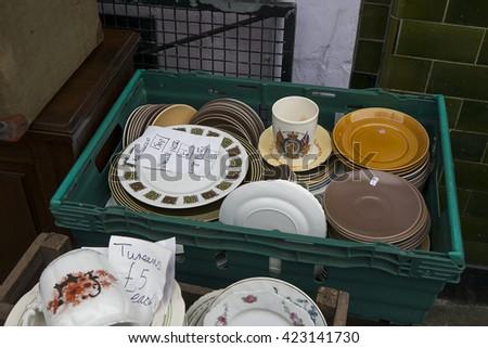 utensils on the flea market - stock photo