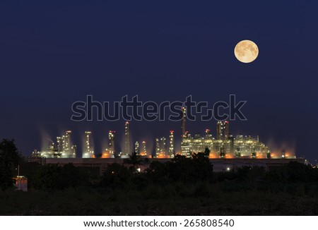 Utility plant, Oil Refinery twilight light full moon  in thailand industrial. - stock photo