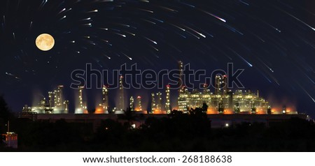 Utility plant, Oil Refinery twilight light moon and stars background  in thailand industrial. - stock photo