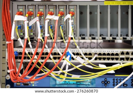 UTP connecting on core network swtich - stock photo