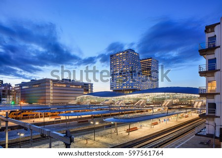 UTRECHT-MARCH 2, 2017. View on Utrecht Central Railway Station. With sixteen platforms and more than 176,000 passengers per day it is the largest and also busiest railway station in the Netherlands.