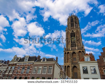 UTRECHT, NETHERLANDS - AUG 28: Cityscape of Utrecht in Netherlands on August 28, 2013. Utrecht is the capital and most populous city in the Dutch province of Utrecht. - stock photo
