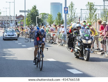 UTRECHT,NETHERLANDS JUL 4: The Austrian cyclist Matthias Brandle of IAM Cycling Team riding during the stage 1 (individual time trial) of Le Tour de France 2015 in Utrecht,Netherlands on 04 July 2015