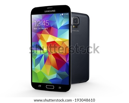 UTRECHT, THE NETHERLANDS, 24 FEBRUARY 2014 - Samsung Galaxy S5 smartphone, new flagship of Samsung. - stock photo
