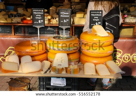 Utrecht, the Netherlands - February 13, 2016: Shelves with famous Dutch cheese in the street market