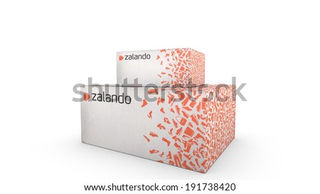 UTRECHT, THE NETHERLANDS, 09 MAY 2014 - Shipping box of Zalando. - stock photo