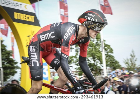 Utrecht, The Netherlands. 4th of July, 2015. Tour de France Time Trial Stage, TEJAY VAN GARDEREN, Team BMC