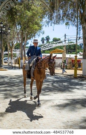 Utrera, Seville, Spain - September 9, 2016: The Utrera Fair (Feria de Utrera) is a traditional festival of the city of Utrera on Seville, Andalusia, Spain.