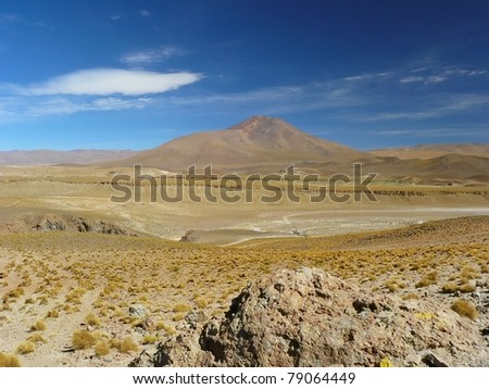 Uturunku Volcano (6008m) is located on the Bolivian Altiplano, near the border with Chile.