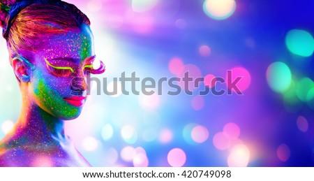 Uv Woman Portrait - Creative Fluorescent Makeup - Neon Body Painting   - stock photo