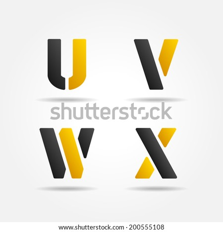 uvwx yellow stencil letters - stock photo