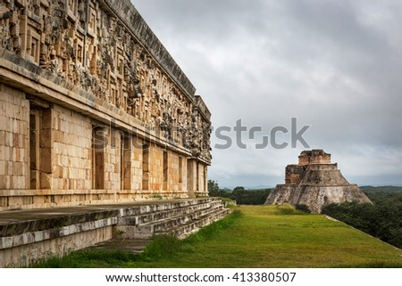 Uxmal, Mexico - January 10th 2014 - The Maya ruins of Uxmal in a cloudy day in Uxmal, Mexico.