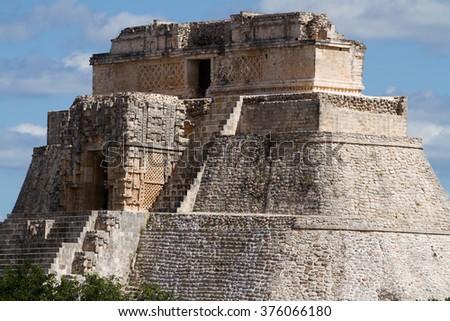 uxmal ruins in yucatan mexico - stock photo