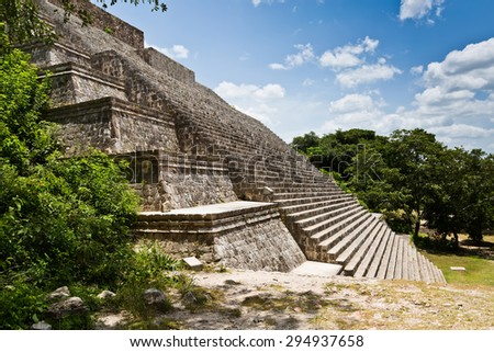 Uxmal, Yucatan, Mexico, 2014. Archeological ruins, built by the Mayas. Closeup of the stairs of an ancient building.