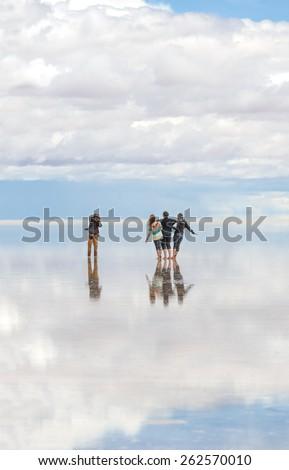 UYUNI, BOLIVIA - JANUARY 05, 2014: Salar de Uyuni is largest salt flat in the World (UNESCO World Heritage Site) - Altiplano, Bolivia, Latin America - stock photo