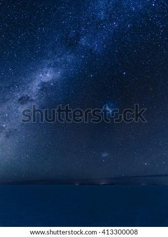 Uyuni Milky Way Galaxy, Large and Small Magellani galaxies - stock photo