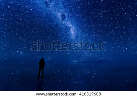 Uyuni Milkyway and stars reflected on the surface of the water. Standing in the middle of galaxy. - stock photo