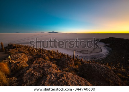 Uyuni Salt Flat viewed from the summit of the Incahuasi Island, among the most important travel destination in Bolivia. Wide angle shot at dawn with glowing cactus in the foreground. - stock photo
