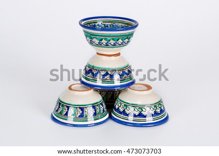 Uzbek tea cup decorative ornamental isolated on white