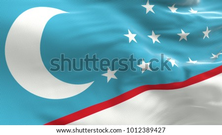 Uzbekistan flag waving on white background