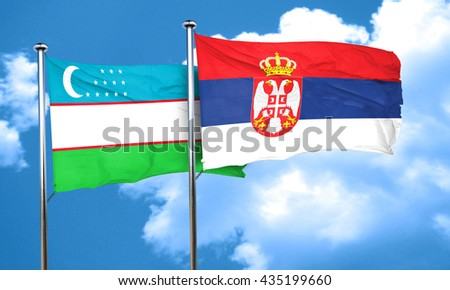 Uzbekistan flag with Serbia flag, 3D rendering