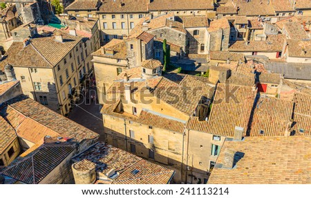 Uzes, Medieval village in the south of France, Provence - stock photo