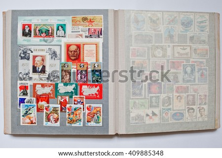 UZHGOROD, UKRAINE - CIRCA APRIL, 2016: Collection of postage letter with stamps in album printed from USSR, circa 1965-1980 - stock photo